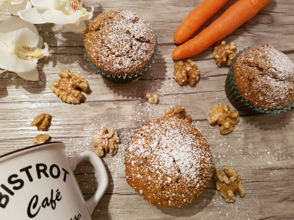 Vegan muffins with carrots and nuts